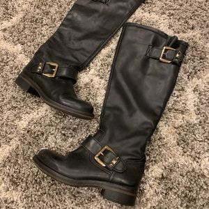 Steve Madden Leather Knee High Boots Black Size 7